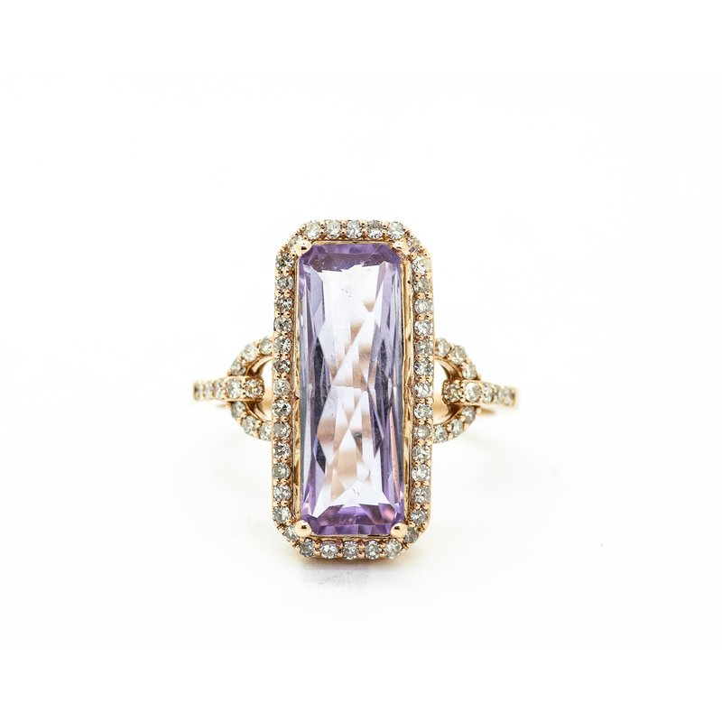 Jewelry Couture Exclusives Long Set Amethyst and Diamond Cocktail Ring