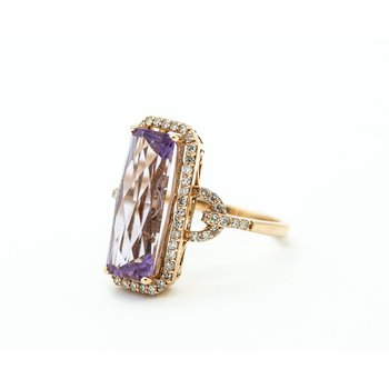 Long Set Amethyst and Diamond Cocktail Ring