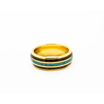 Tungsten Turquoise and Wood Wedding Band