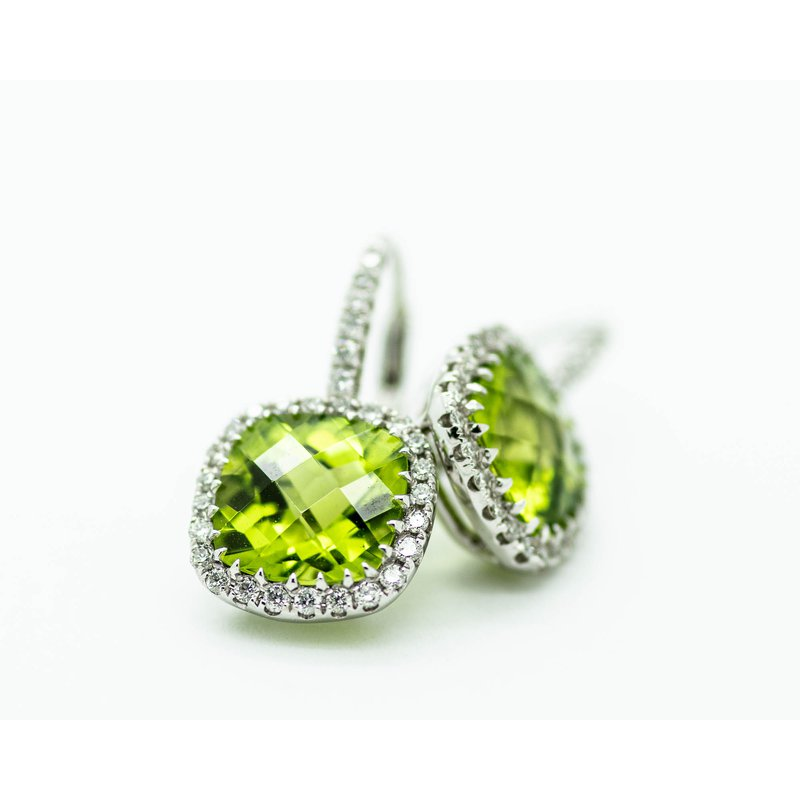 Jewelry Couture Exclusives Cushion Peridot Diamond Halo Earrings