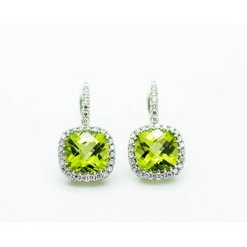 Cushion Peridot Diamond Halo Earrings