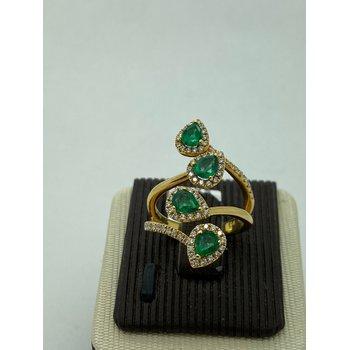 Climbing Multi-Stone Emerald and Diamond Ring