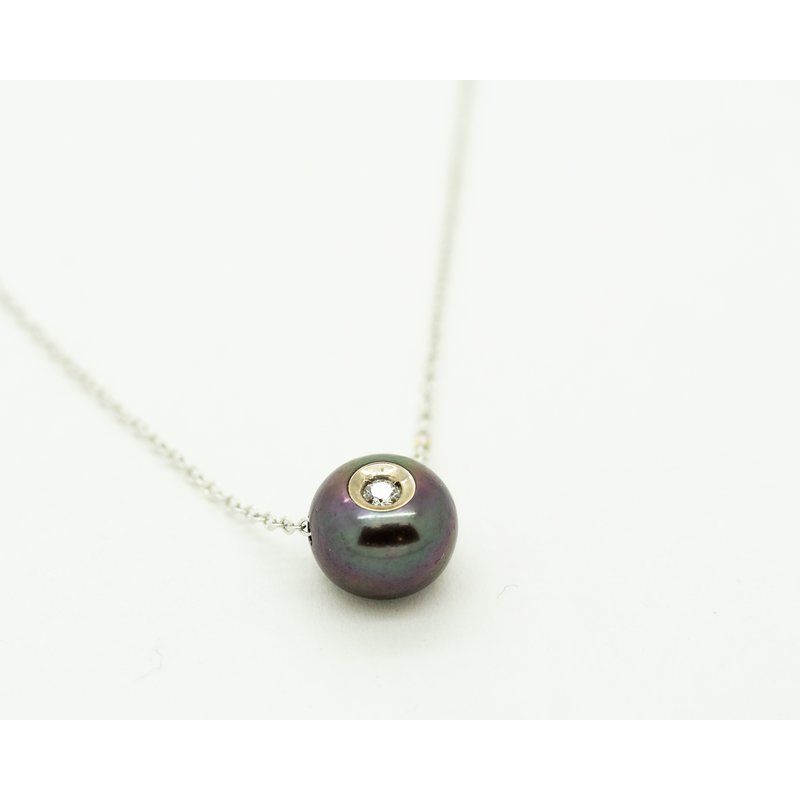 Jewelry Couture Exclusives Black Fresh Water Pearl Diamond Necklace