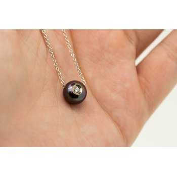 Black Fresh Water Pearl Diamond Necklace