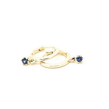 Sapphire Droplet Huggie Hoops
