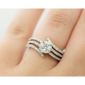 Multi Band Diamond Cluster Engagement Ring