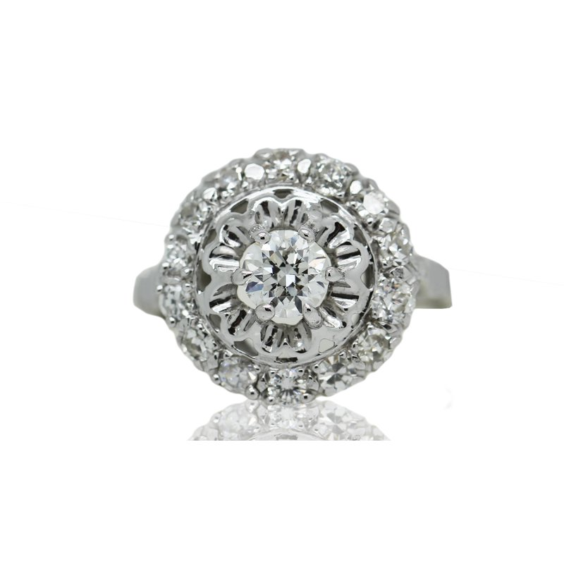 Estate Jewelry 14ct White Gold Vintage Diamond Ring