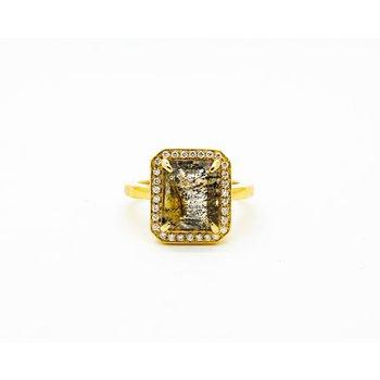 Dendric Quartz and Diamond Ring