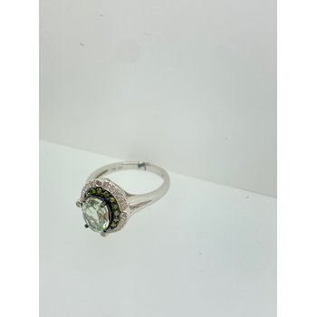 Green Amethyst Ring with Green Diamonds
