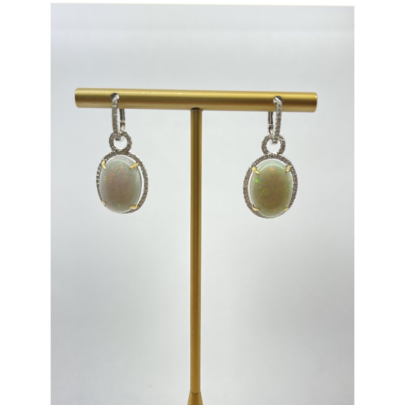 Jewelry Couture Exclusives Opal and Diamond Earrings