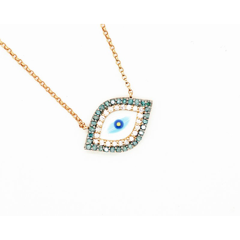 Blue Diamond Enamel Evil Eye Necklace