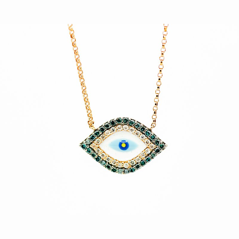 Jewelry Couture Exclusives Blue Diamond Enamel Evil Eye Necklace