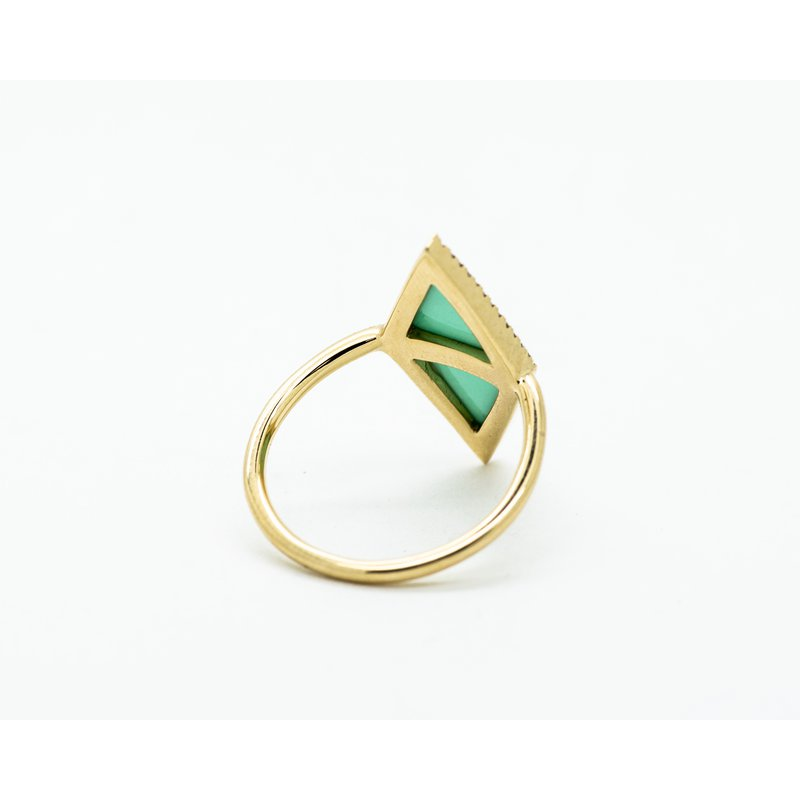 Jewelry Couture Exclusives 14k Yellow Gold Turquoise and Diamond Ring