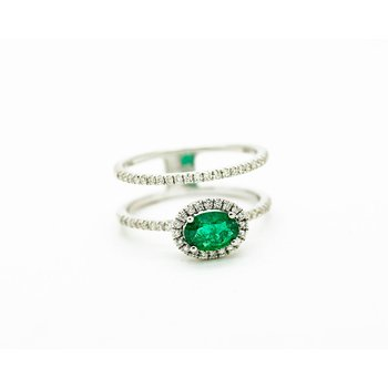 Double Band Halo Emerald Ring