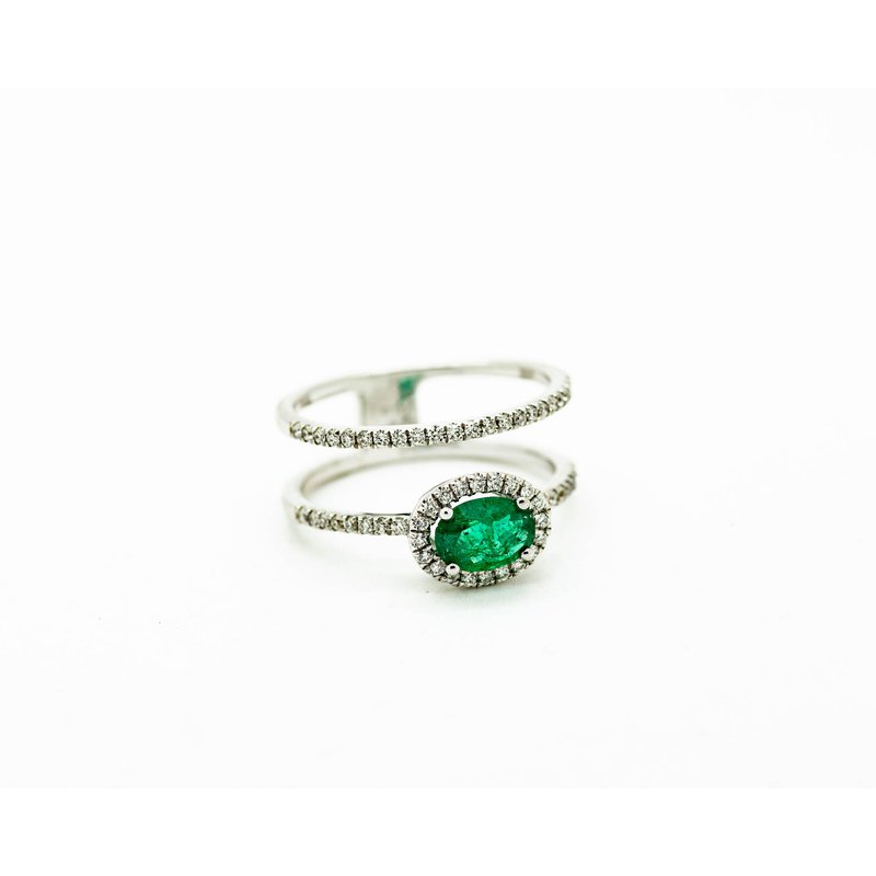 Jewelry Couture Exclusives Double Band Halo Emerald Ring