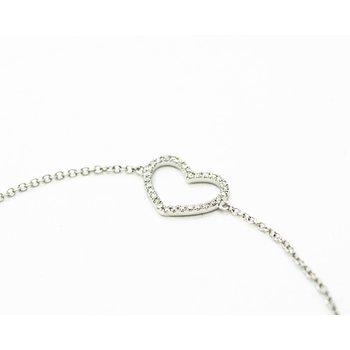 Diamond Heart White Gold Bracelet