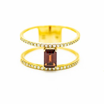Minimalist Double Band Garnet Ring