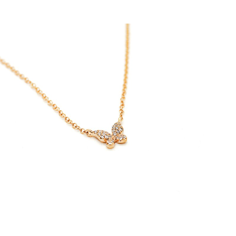Jewelry Couture Exclusives Rose Gold Diamond Butterfly Necklace