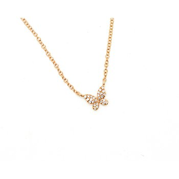 Rose Gold Diamond Butterfly Necklace