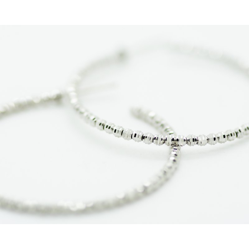 Jewelry Couture Exclusives 14k White Gold Beaded Hoops