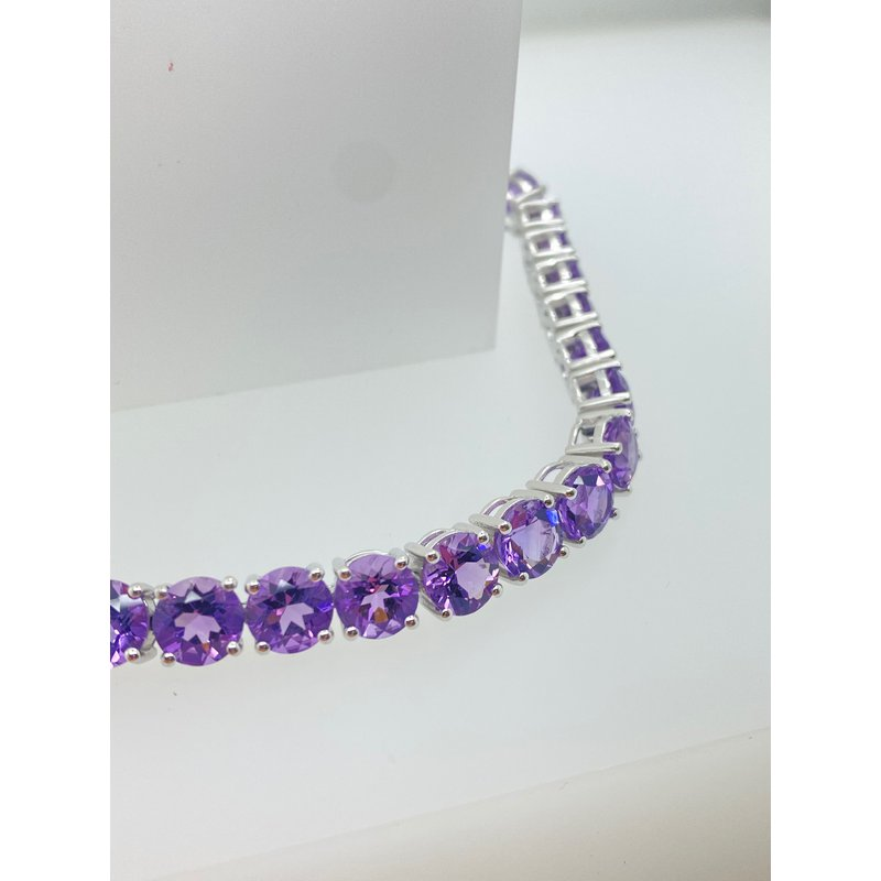"""Jewelry Couture Exclusives 7"""" Amethyst on Silver Bracelet"""