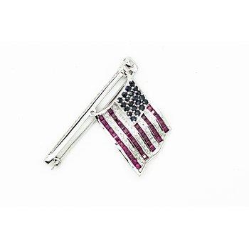 Diamond, Sapphire and Ruby American Flag Brooch