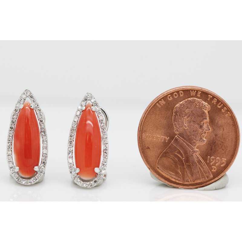 Estate Jewelry Coral and Diamond Earrings