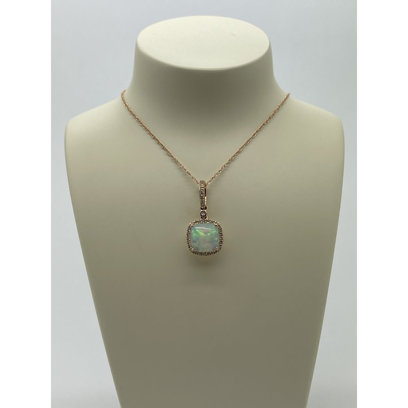 Jewelry Couture Exclusives Opal and Diamond Rose Gold Pendant