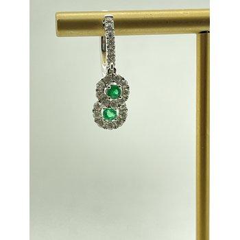 Emerald and Diamond Hoop Earrings