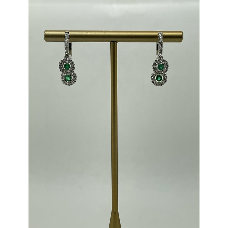 Jewelry Couture Exclusives Emerald and Diamond Hoop Earrings