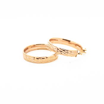 Textured Rose Gold Hoop Earrings