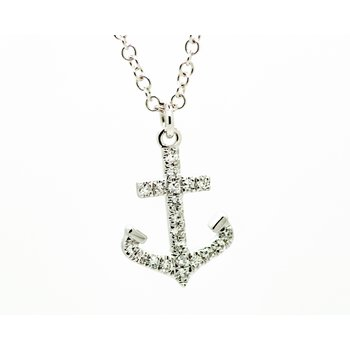 White Gold Diamond Anchor Neckalce