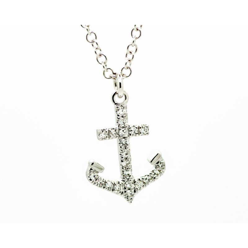Jewelry Couture Exclusives White Gold Diamond Anchor Neckalce