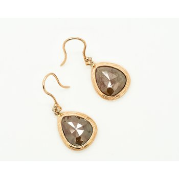 Tear Drop Faceted Raw Diamond Earrings