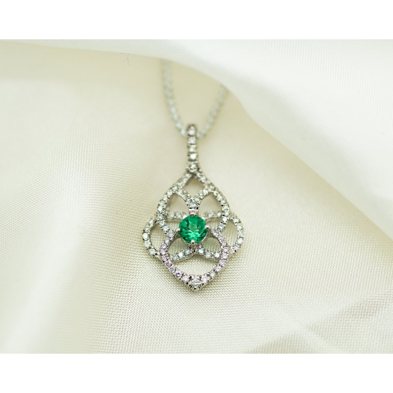 Jewelry Couture Exclusives Vintage Inspired Diamond and Emerald Pendant