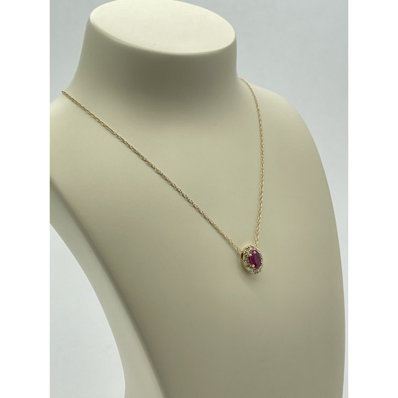 Jewelry Couture Exclusives Yellow Gold and Ruby Pendant Necklace