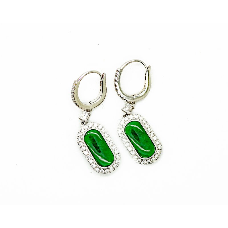 Jewelry Couture Exclusives Jade and Diamond Drop Earrings