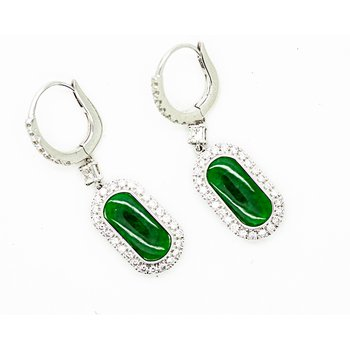 Jade and Diamond Drop Earrings