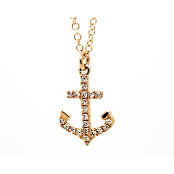 Rose Gold Diamond Anchor Necklace