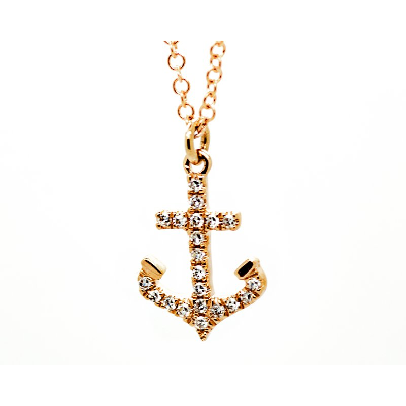 Jewelry Couture Exclusives Rose Gold Diamond Anchor Necklace