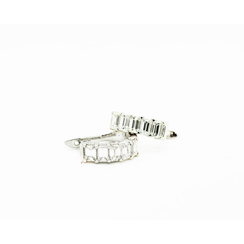 Jewelry Couture Exclusives Emerald Cut Diamond Huggie Hoops