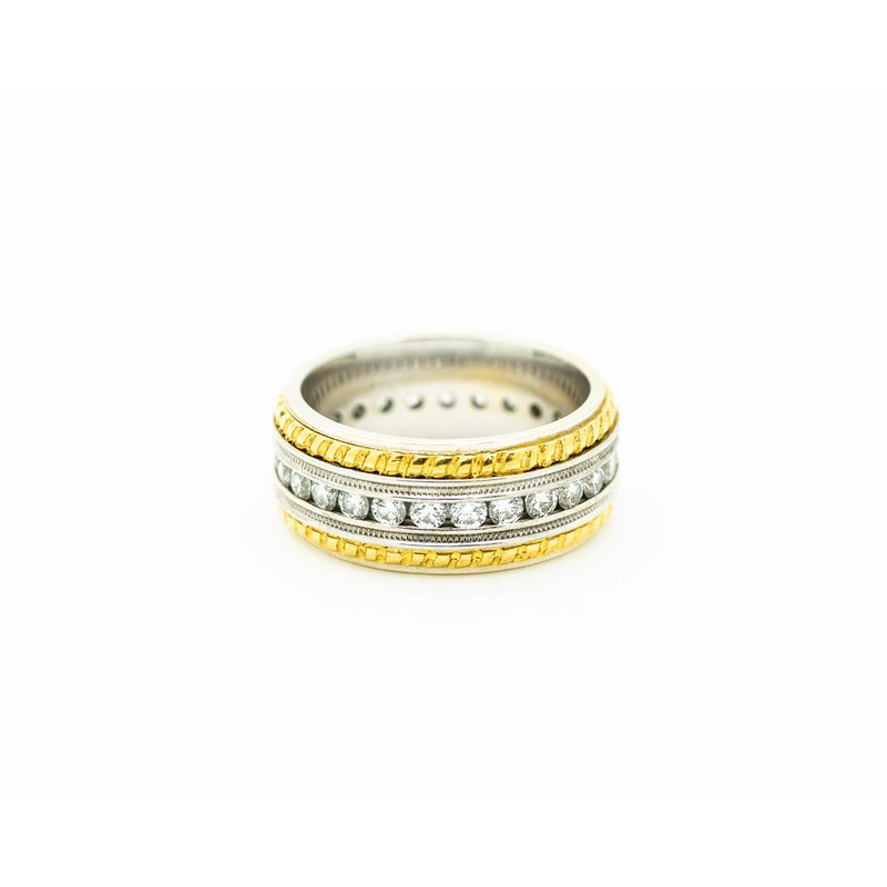 Jewelry Couture Exclusives 24k Gold Trim Diamond Band