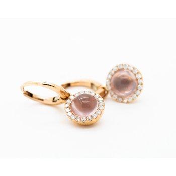 Round Rose Quartz Diamond Earrings
