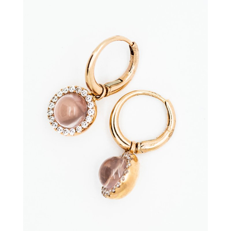 Jewelry Couture Exclusives Round Rose Quartz Diamond Earrings