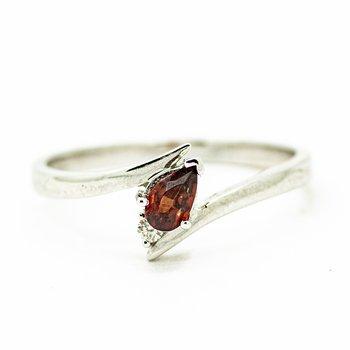 Delicate Pear Cut Garnet Ring