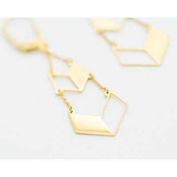 14k Yellow Gold Chevron Drop Earrings