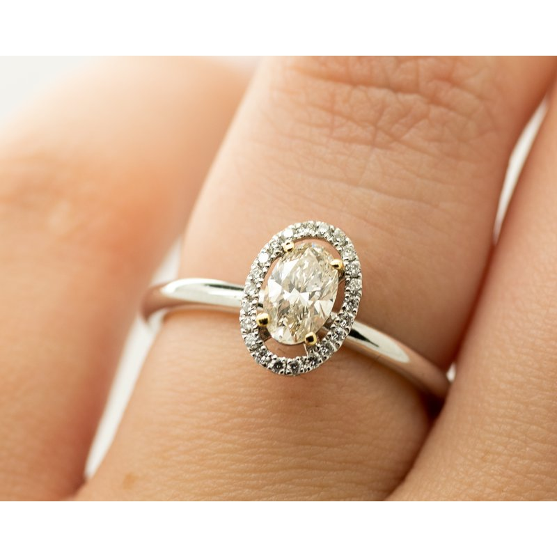 Jewelry Couture Exclusives Two Toned Oval Halo Engagement Ring