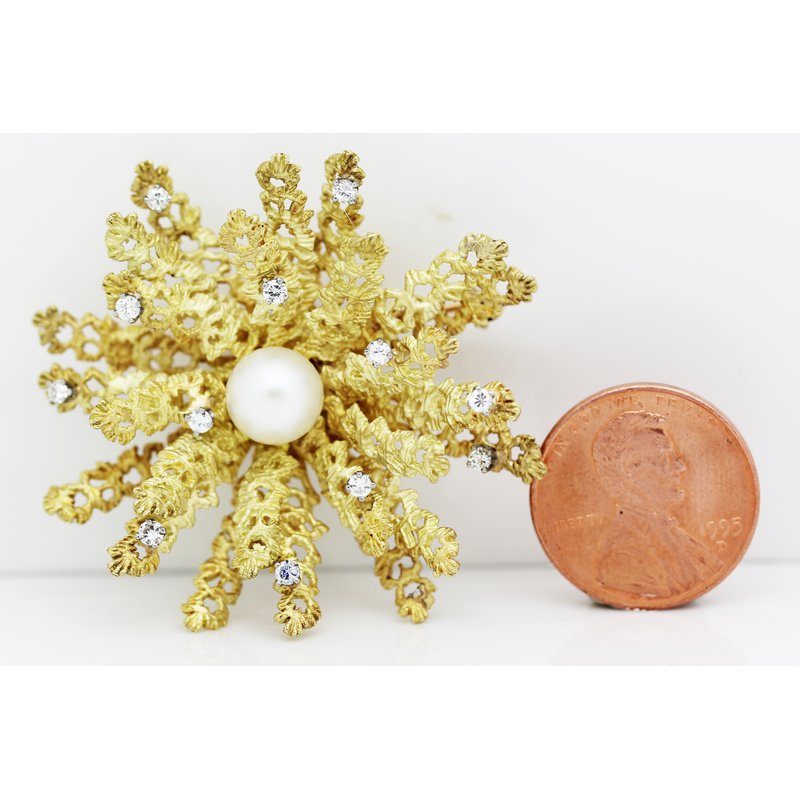 Estate Jewelry Pearl and Gold Brooch