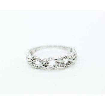 18k White Gold Diamond Chain Link ring