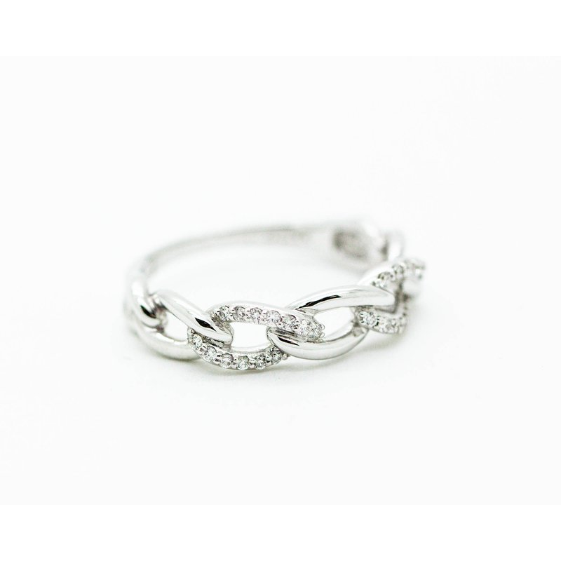 Jewelry Couture Exclusives 18k White Gold Diamond Chain Link ring